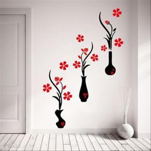 Stylish Vinyl Flower Pots' Wall Sticker