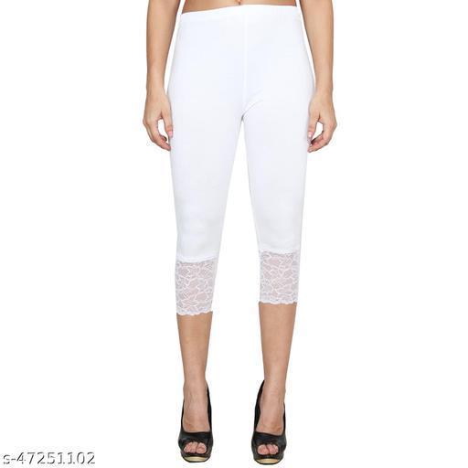 Women's Lace Capri Pack of 1(White)
