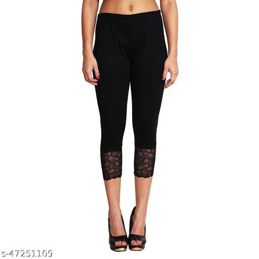 Women's Lace Capri Pack of 1(Black)