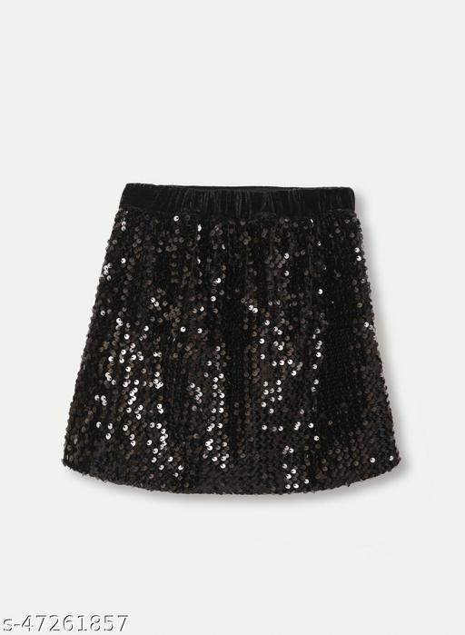 Little Carrot Velvette Sequins Skirt -Black