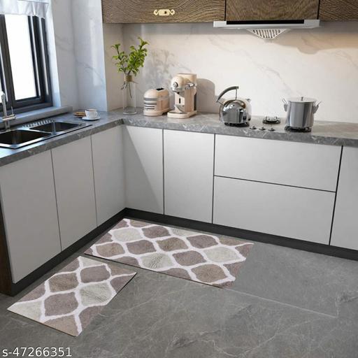 Zesture Kitchen/ Bathroom Mat/ Rug Sets 2 Piece Non Slip Soft Super Absorbent Kitchen/ Bathroom Rug 100% Pure Cotton. Hand Tufted Heavy Weight Doormat (55 x 88 cms + 40 x 60 cms, Musturd and Olive)