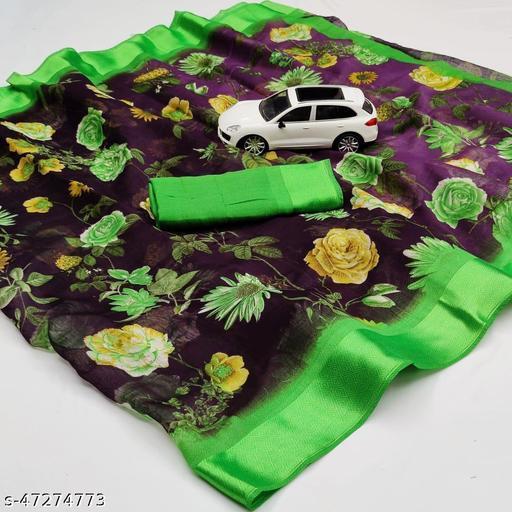 Kimpex-Cotton Linen With Satin Patta Saree