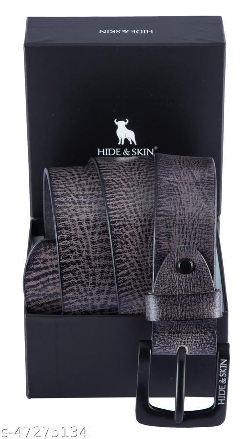 HIDE & SKIN Grey Genuine Leather Kataniya Men's Hand Milled Belt- ALF