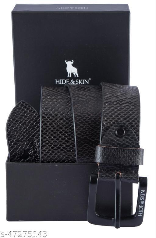 HIDE & SKIN Genuine Leather belt for Men Charcoal Grey- ALF
