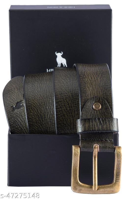 HIDE & SKIN Kataniya Men's Leather Hand Milled Belt (Olive)- ALF