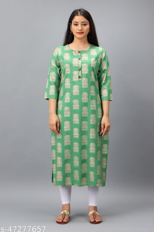 Spera Green Rayon Straight Women's Kurta