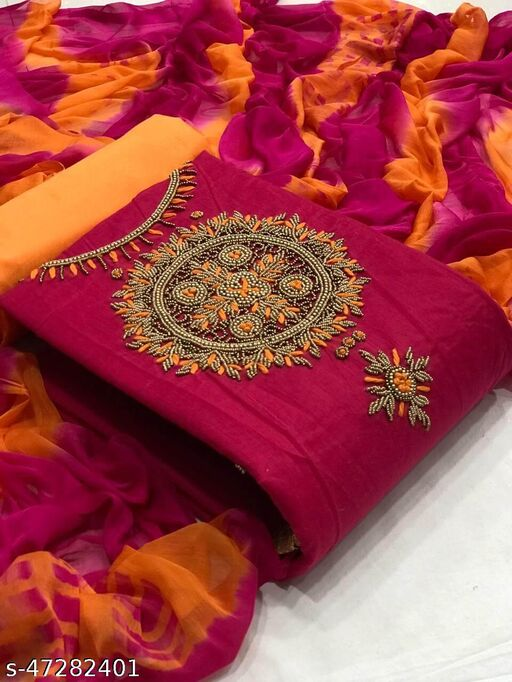 Deetya art's present new and trendy collection of chanderi cotton handmade work unstiched suit material for women aprropriate to all type of function