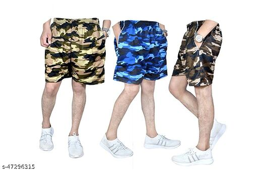 Kryptar Stylish Camouflage Cotton Shorts for Men Pack of 3
