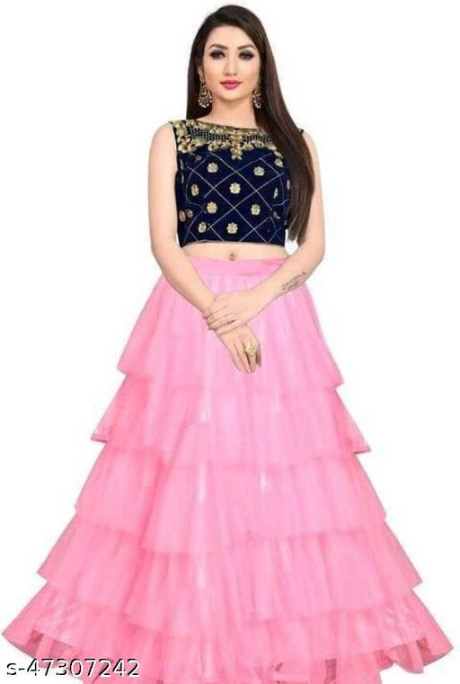 Fancy Net Lengha Choli - Pink