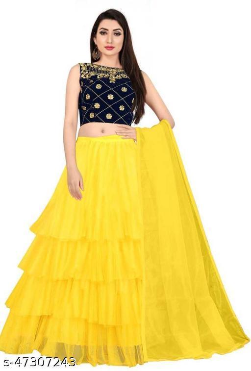 Fancy Net Lengha Choli - Yellow
