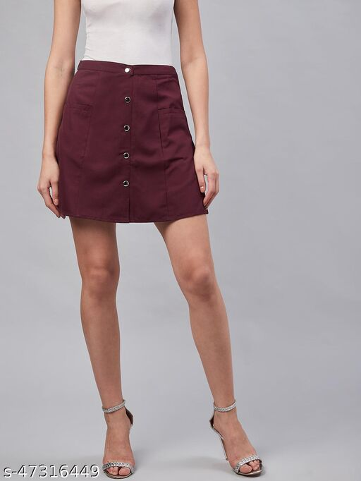 Women Casual Wine Colour Solid A-Line Skirt