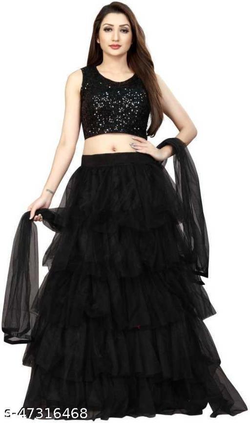 Mastani eterprise Women's Net Semi-stitched Lehenga Choli Color-Black
