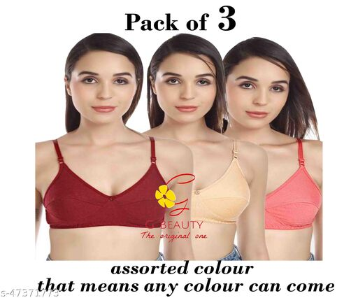 Women Magnet Bra Pack Of 3 (Assorted Colour)