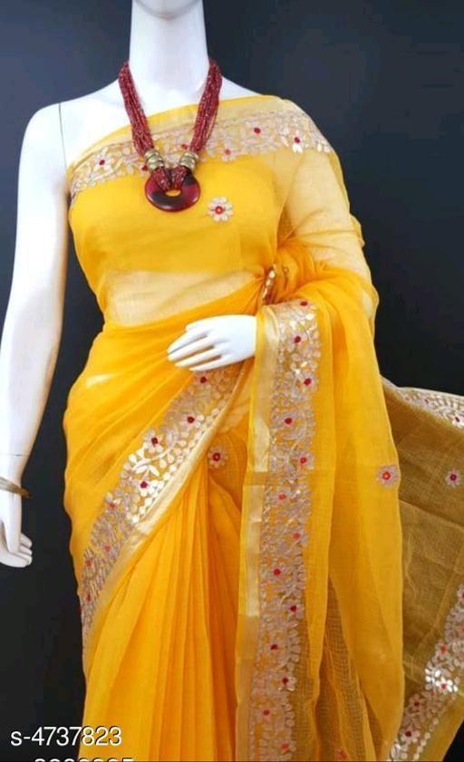Trendy Stylish Kota Cotton Women's Saree