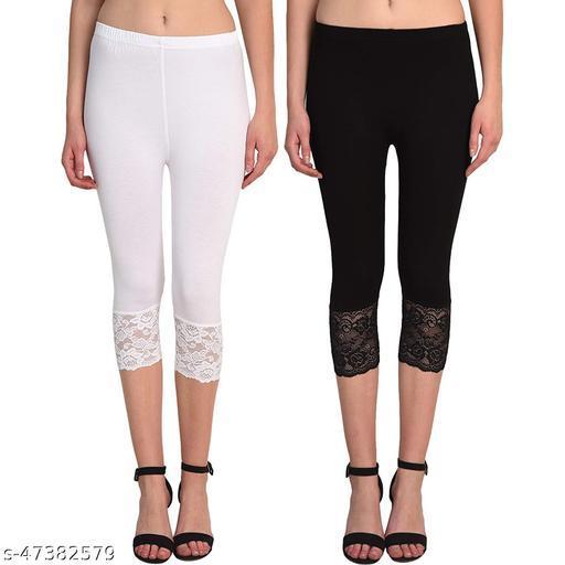 Calf Length Lace Capri Pack of-2(White,Black)