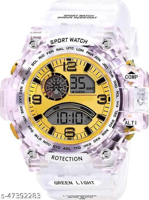 Digital Sports Multicolor Dial LED Transparent Watch for Mens Boys