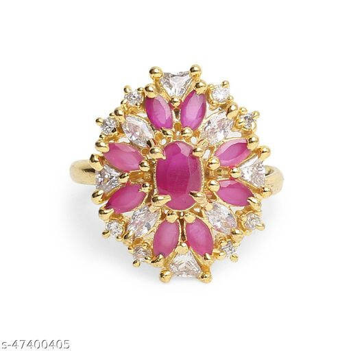Womens Alluring Golden & Pink Adjustable AD Ring (Gold, Pink)