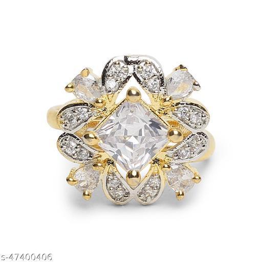 Womens Trendy Golden Designer Adjustable AD Ring (Gold)