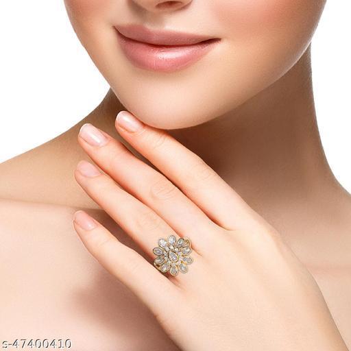 Womens Trendy Golden Flower Designer AD Ring (Gold)