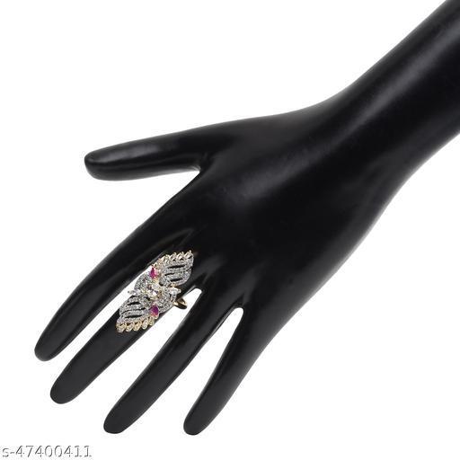 Womens Trendy Golden Alluring Adjustable AD Ring (Gold)