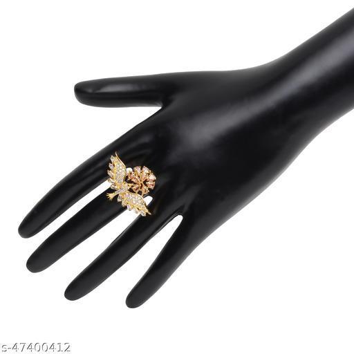 Womens Trendy Golden Bird Adjustable AD Ring (Gold)