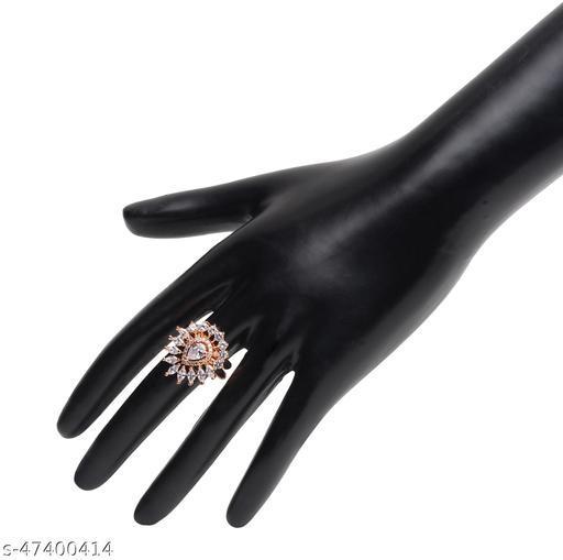 Womens Trendy Golden Flower Adjustable AD Ring (Gold)