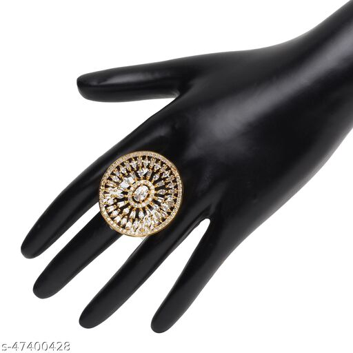 Womens Trendy Golden Round Flower Adjustable AD Ring (Gold)