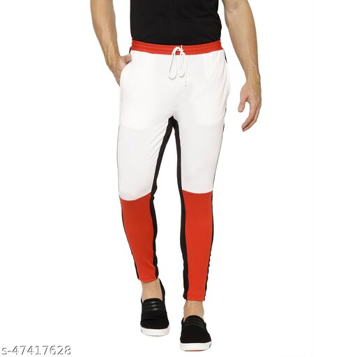 FLYNOFF White Solid 4Way Lycra Tailored Fit Ankle Length Men's Track Pant