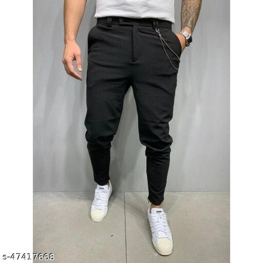 FLYNOFF Black Solid 4Way Lycra Tailored Fit Ankle Length Men's Track Pant