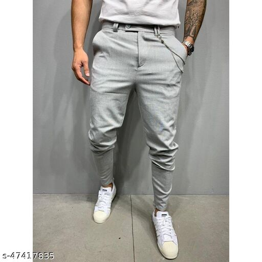 FLYNOFF Silver Solid 4Way Lycra Tailored Fit Ankle Length Men's Track Pant