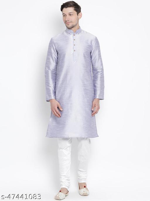 Vastramay Men's Light Blue Silk Blend Kurta Pyjama Set