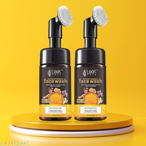 HIRAPARA  Ubtan Natural Face Wash for All Skin Type with Turmeric & Saffron for Tan removal and Skin Brightening Built-In Face Brush for Deep Cleansing Pack of 2