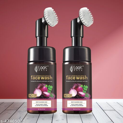 HIRAPARA  Red onion Black seeds Foaming Face Wash with Built-In Face Brush for Deep Cleansing - No Parabens, Sulphate, Silicones Pack of 2