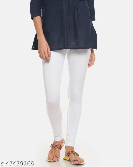 Lakshmya Ankle Length Cotton Lycra 4-Way Stretchable with Miani Legging 180 GSM (Waist Size 28-40) Color : White