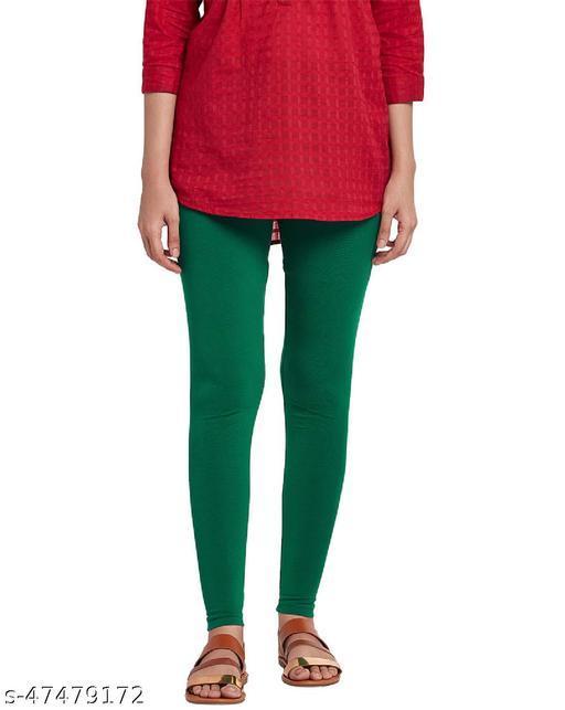 Lakshmya Ankle Length Cotton Lycra 4-Way Stretchable with Miani Legging 180 GSM (Waist Size 28-40) Color : Bottle-Green