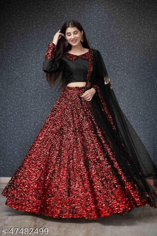 Red and Black Viscose Velvet Semi-stitched Lehenga Choli LC 292