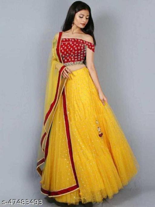 Mayra New Fancy Net Lengha Choli - Red