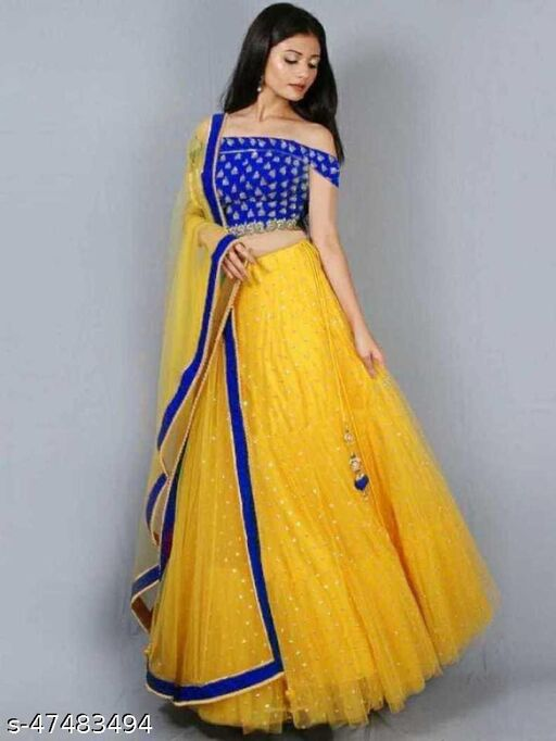Mayra New Fancy Net Lengha Choli - Blue