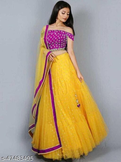 Mayra New Fancy Net Lengha Choli - Pink