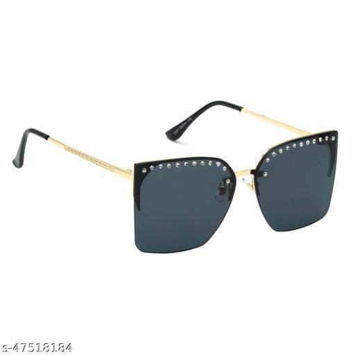 IG-2467-GL-BL 62mm Large Rectangular::Over-sized Black Gradient Sunglasses