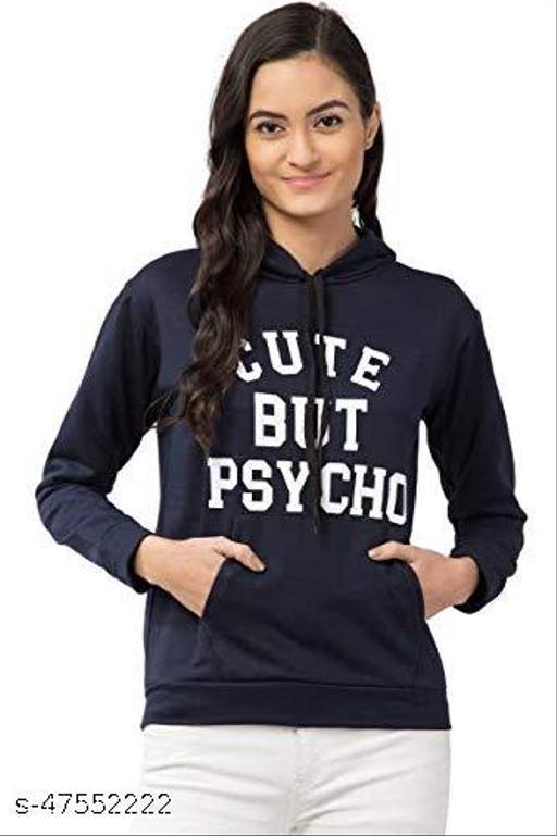 Trendy Conversational Printed Blue Hoodie For Women