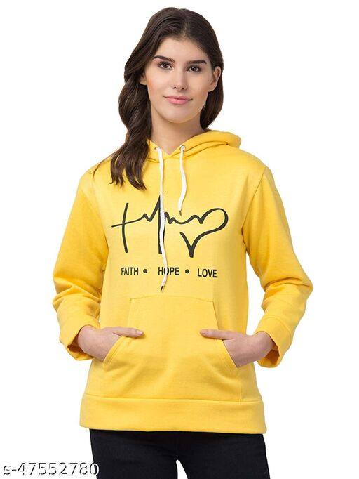 Trendy Graphic Printed Yellow Hoodie For Women