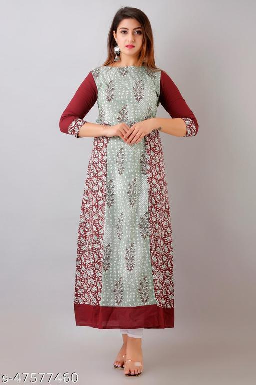 THIAB Womens Cotton Buti Print A-Line Kurta (Maroon & Green)