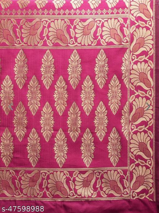 Women's Banarasi Silk Heavy Jaquard Zari Work Saree With Pure Banarasi Silk Blouse Piece