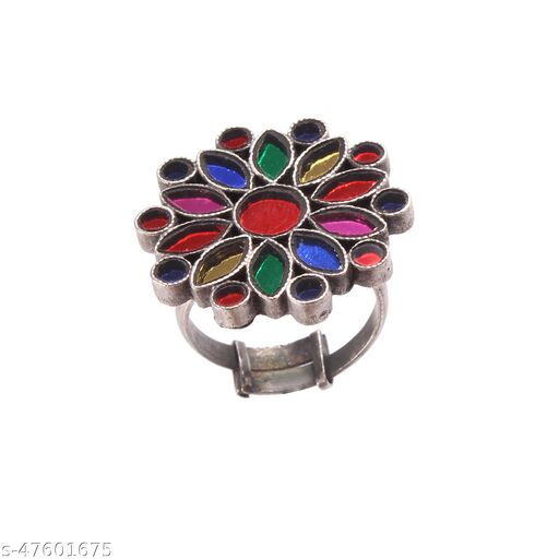 Silver Floral, Multi-Coloured Ring