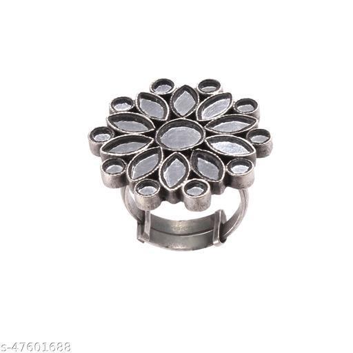 Silver White Mirror Glass Ring