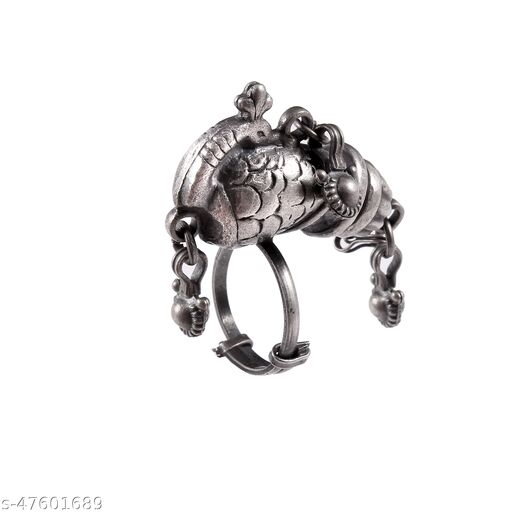 Silver Adorable Peacock Ring With Ghungroos