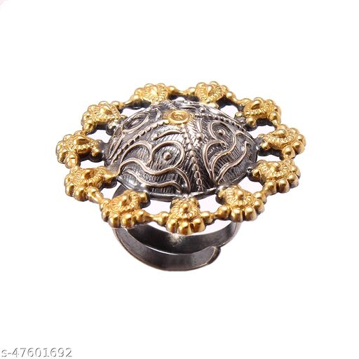 Silver Gold Plated, Oxidized Floral Ring