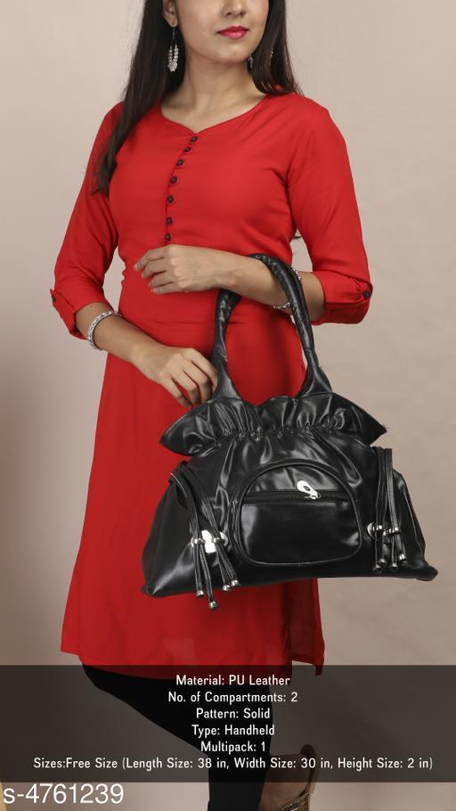Elegant Women's Black Faux Leather/Leatherette Handbag
