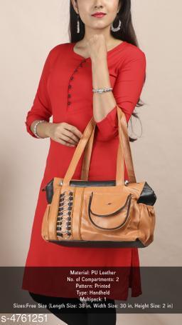 Trendy Women's Brown Faux Leather/Leatherette Handbag